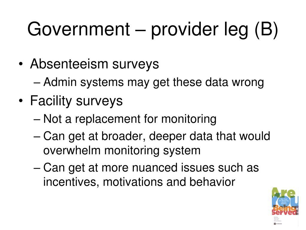 Government – provider leg (B)