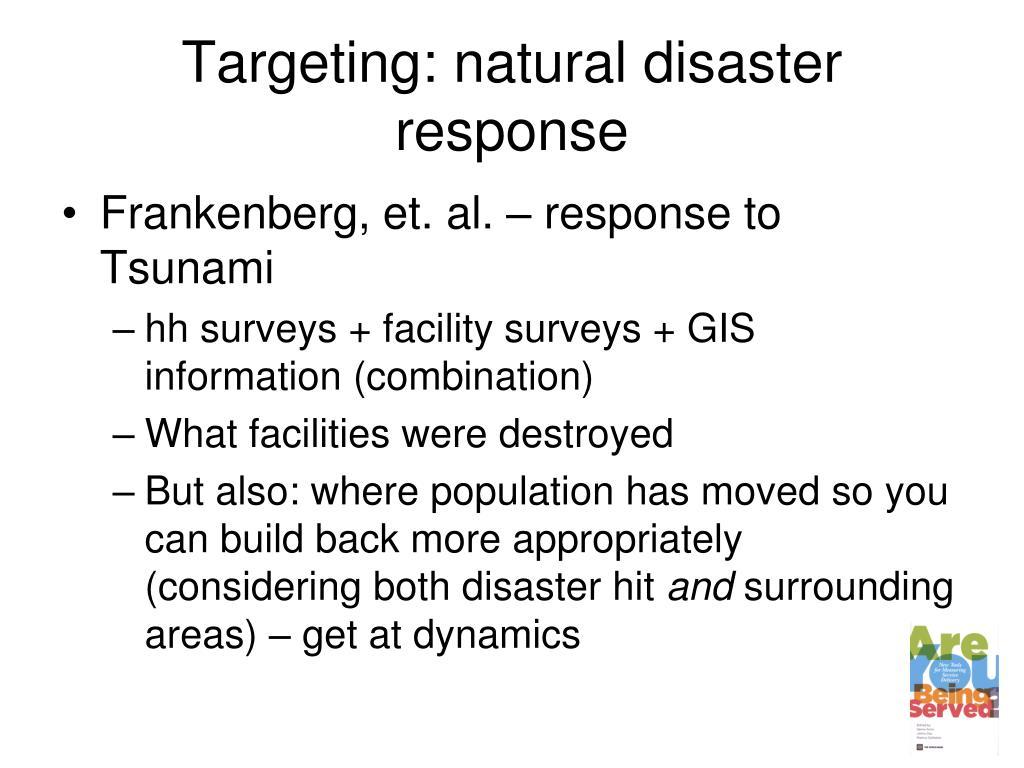 Targeting: natural disaster response