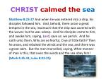 christ calmed the sea