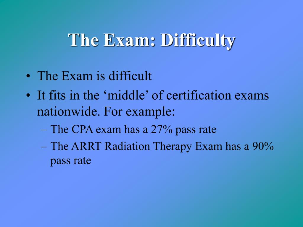 The Exam: Difficulty