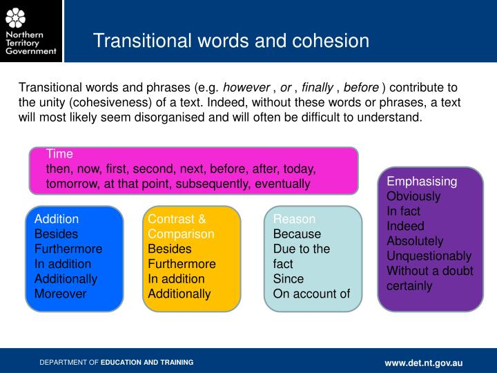 Transitional words and cohesion