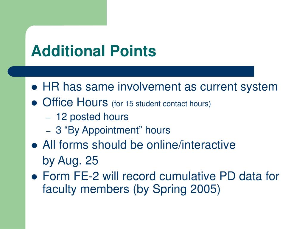 Additional Points