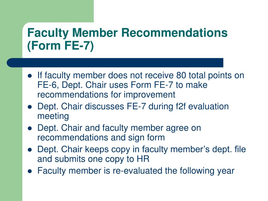 Faculty Member Recommendations (Form FE-7)