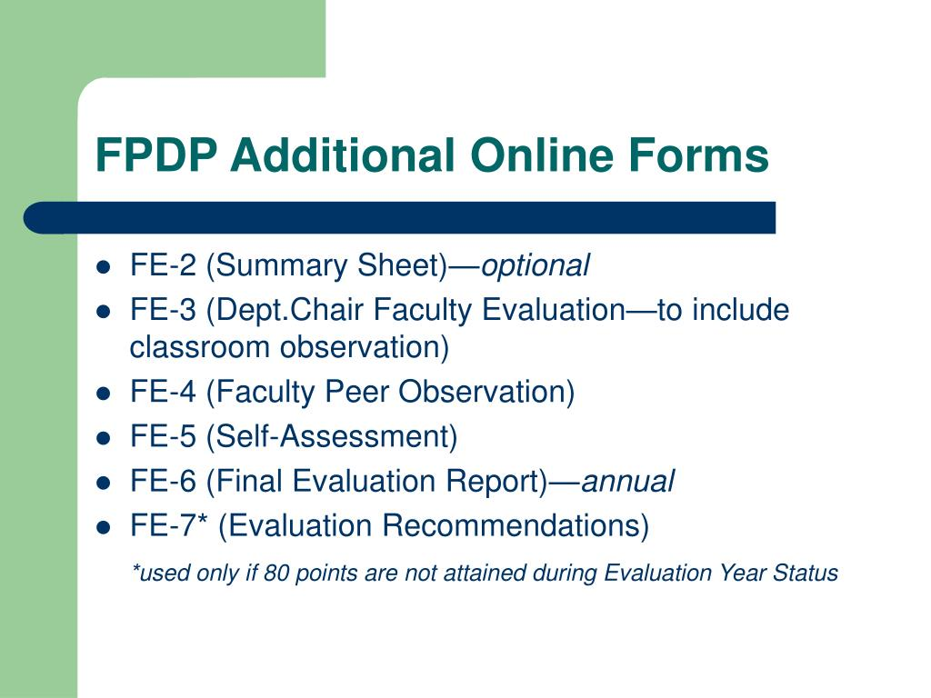 FPDP Additional Online Forms