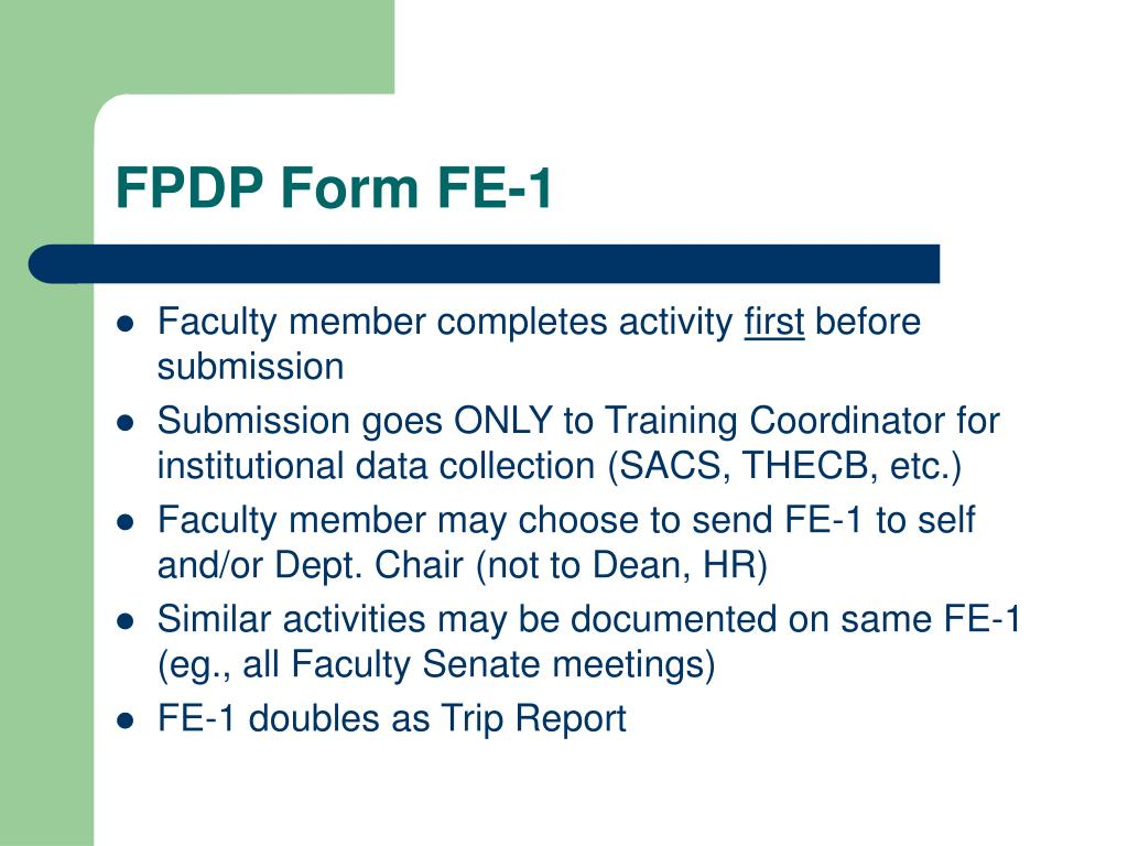 FPDP Form FE-1