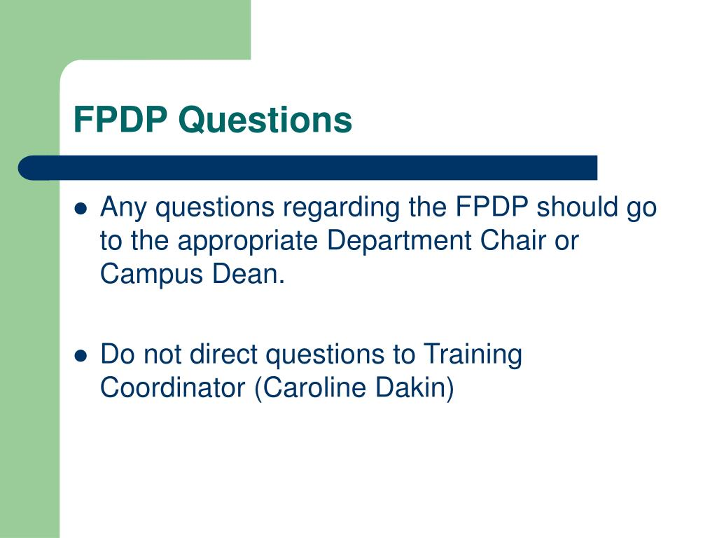 FPDP Questions