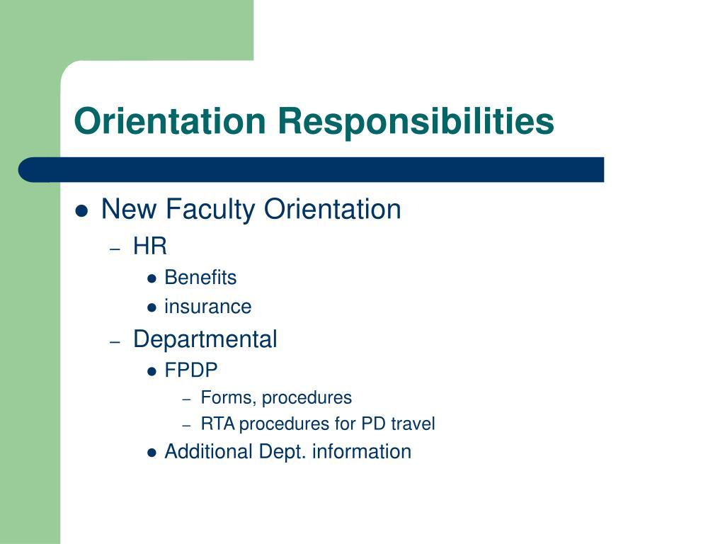Orientation Responsibilities