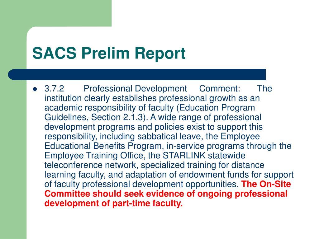 SACS Prelim Report