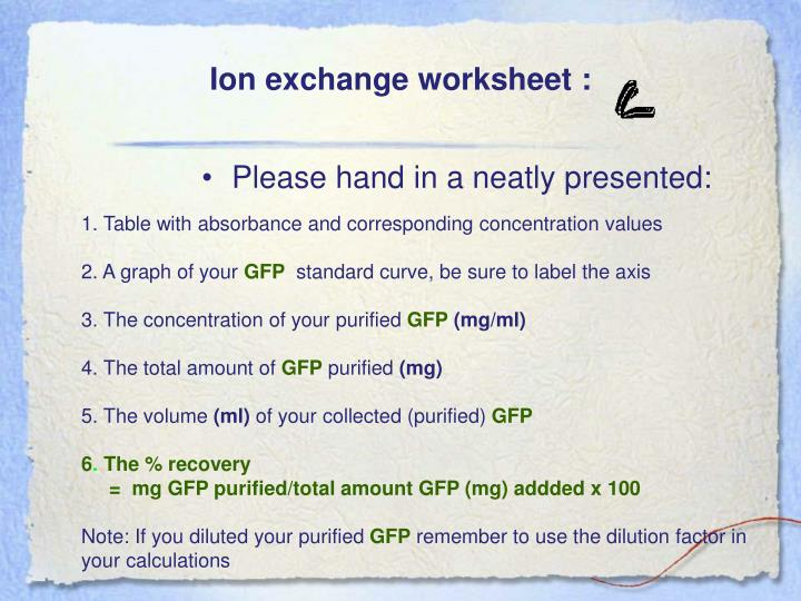 Ion exchange worksheet :