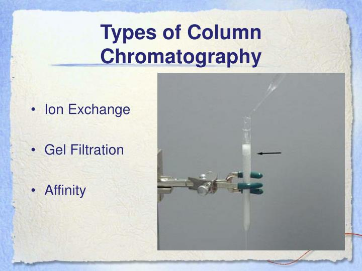 Types of column chromatography