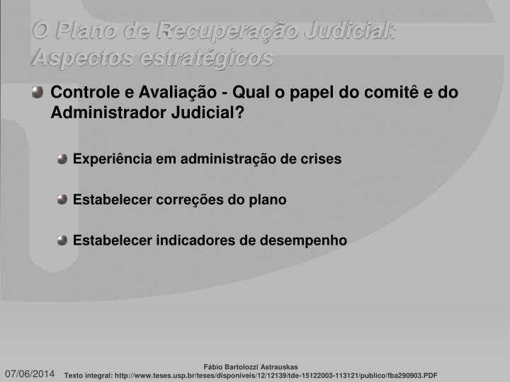 O Plano de Recuperação Judicial: