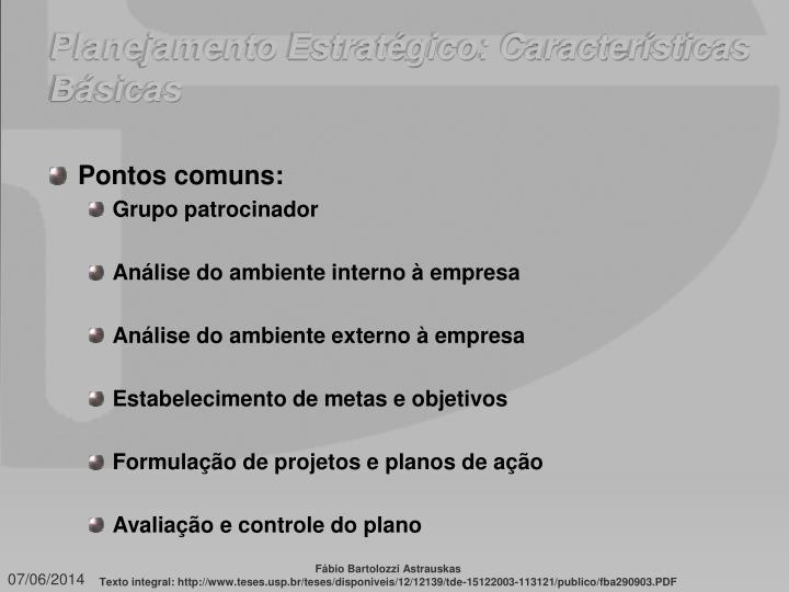 Planejamento Estratégico: Características Básicas