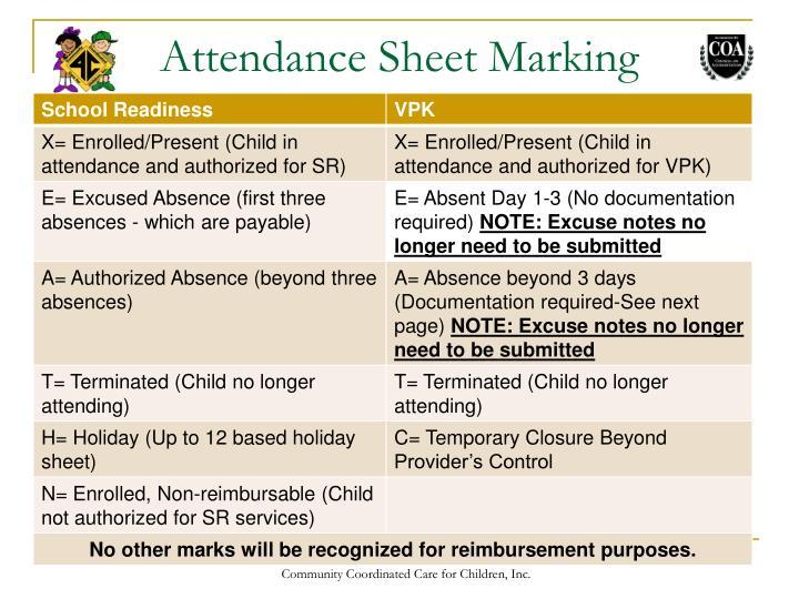 Attendance Sheet Marking