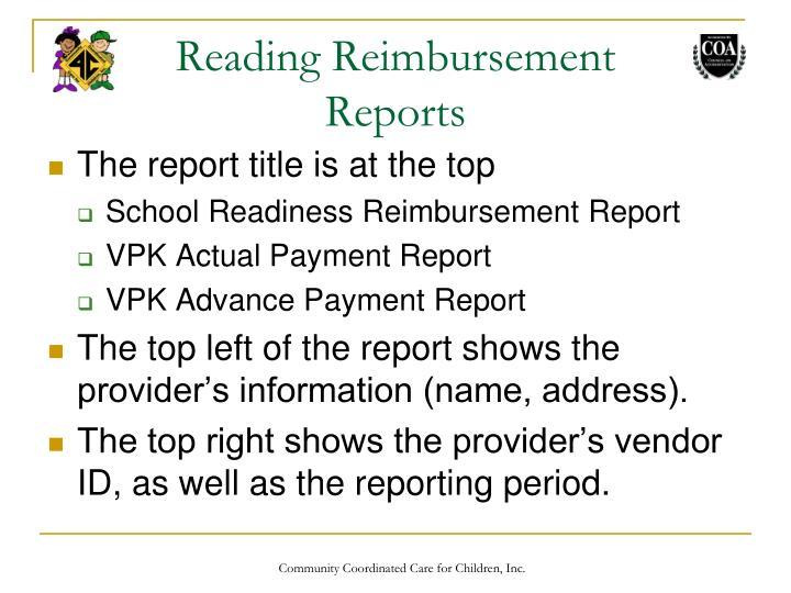 Reading Reimbursement