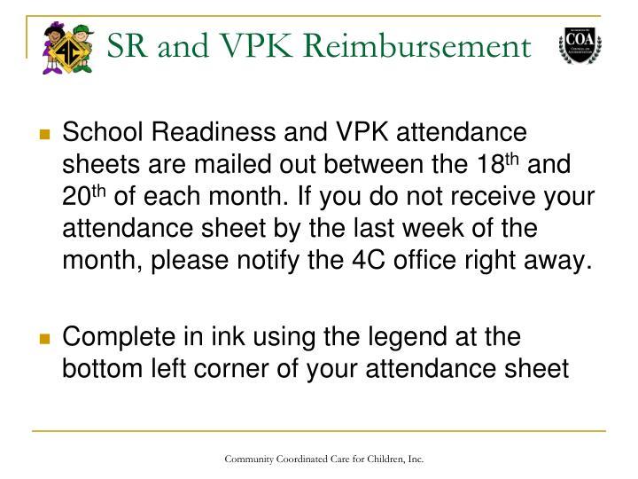 SR and VPK Reimbursement