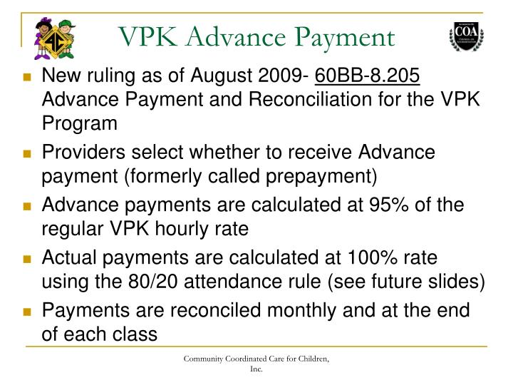 VPK Advance Payment