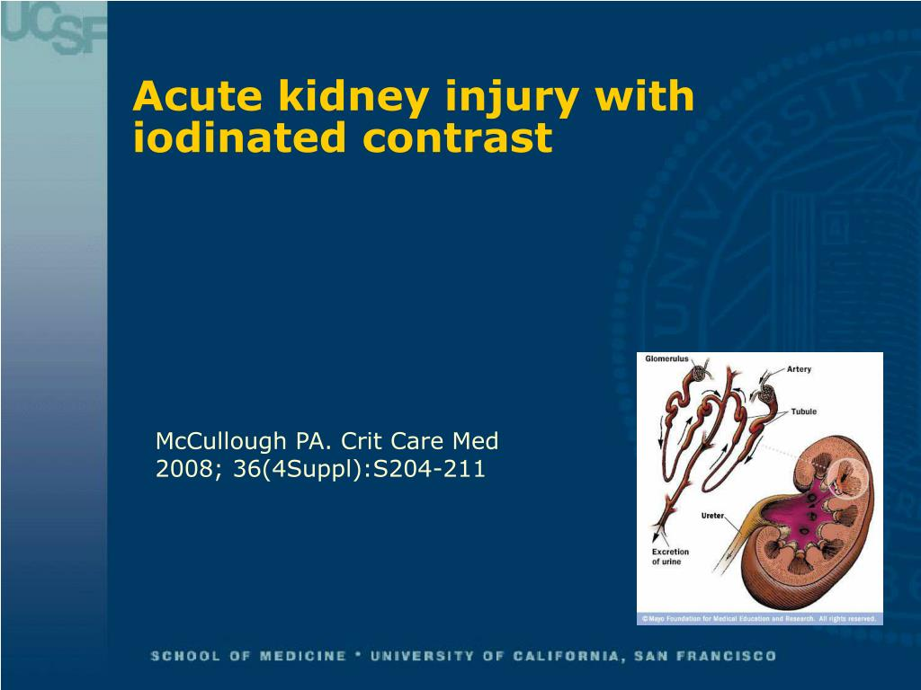 Acute kidney injury with iodinated contrast