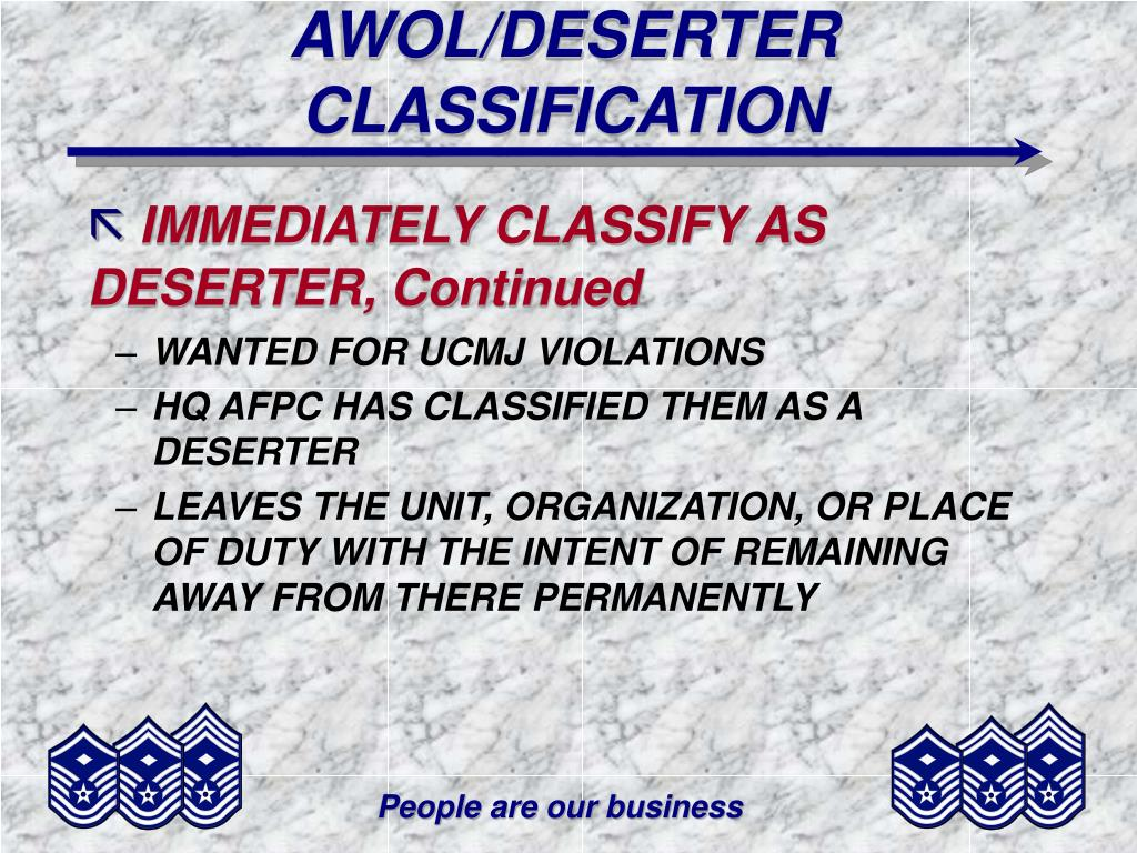 AWOL/DESERTER CLASSIFICATION