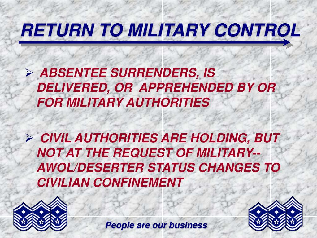 RETURN TO MILITARY CONTROL