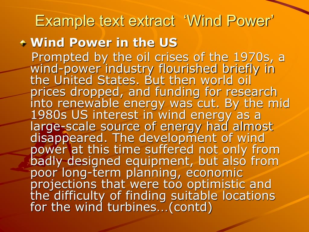 Example text extract  'Wind Power'