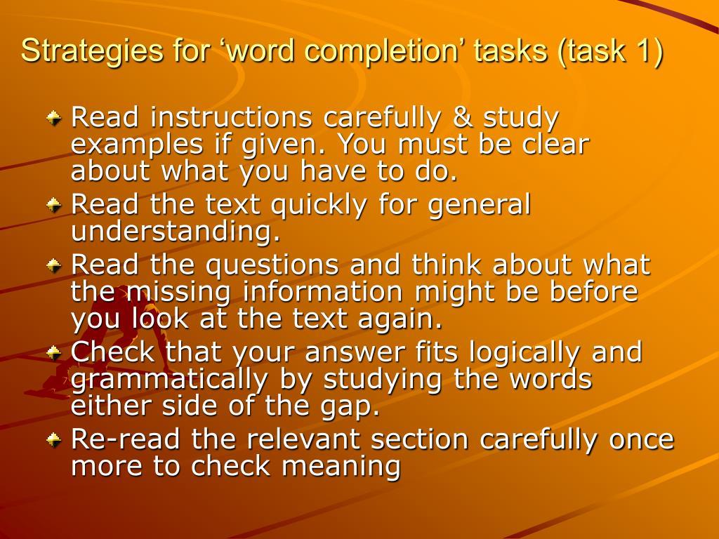 Strategies for 'word completion' tasks (task 1)