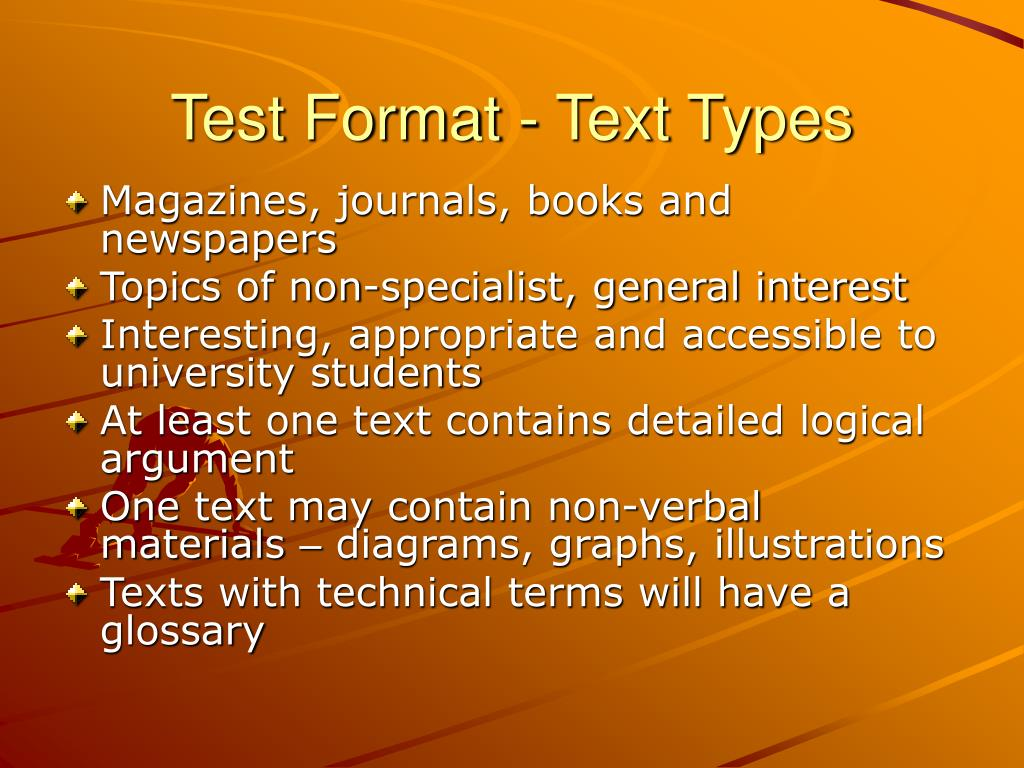 Test Format - Text Types