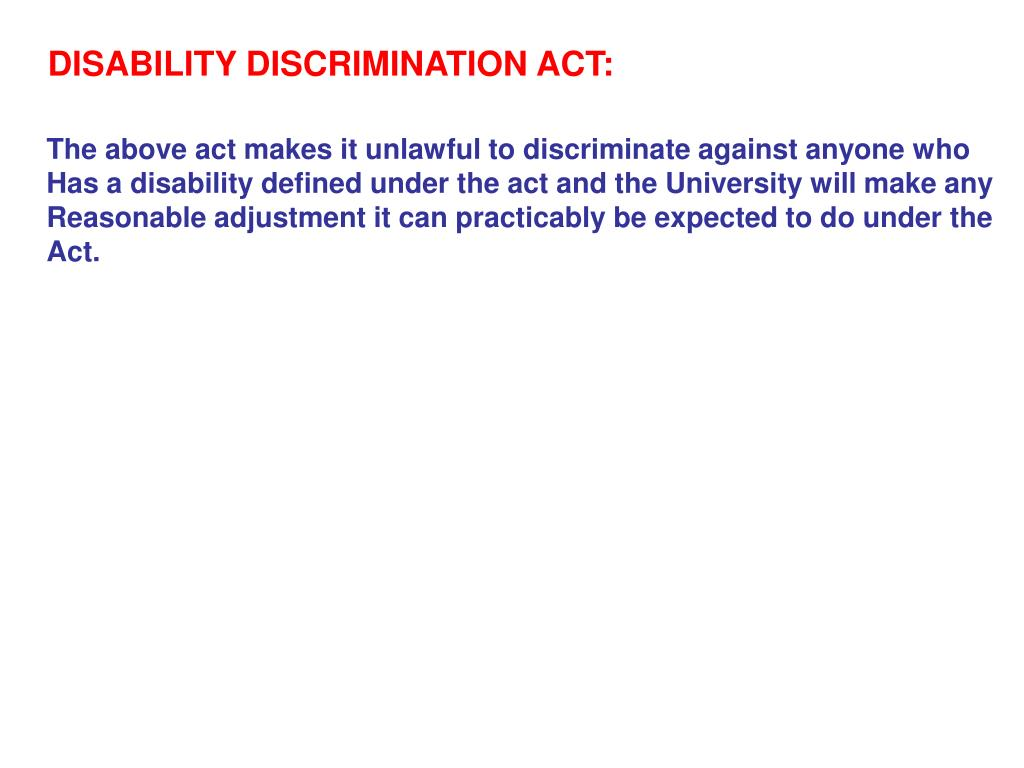 DISABILITY DISCRIMINATION ACT: