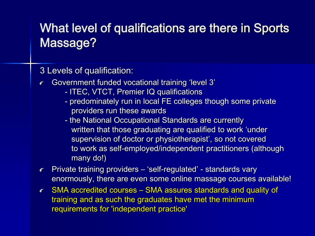 What level of qualifications are there in Sports Massage?