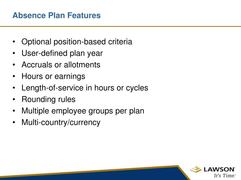 Absence Plan Features