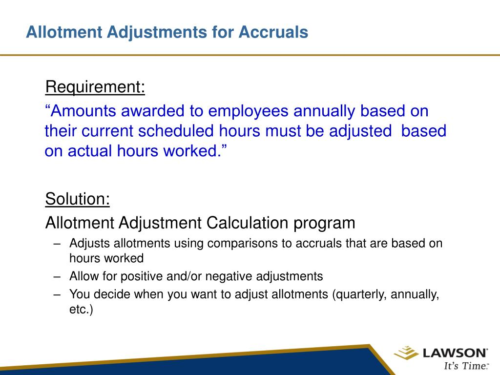 Allotment Adjustments for Accruals