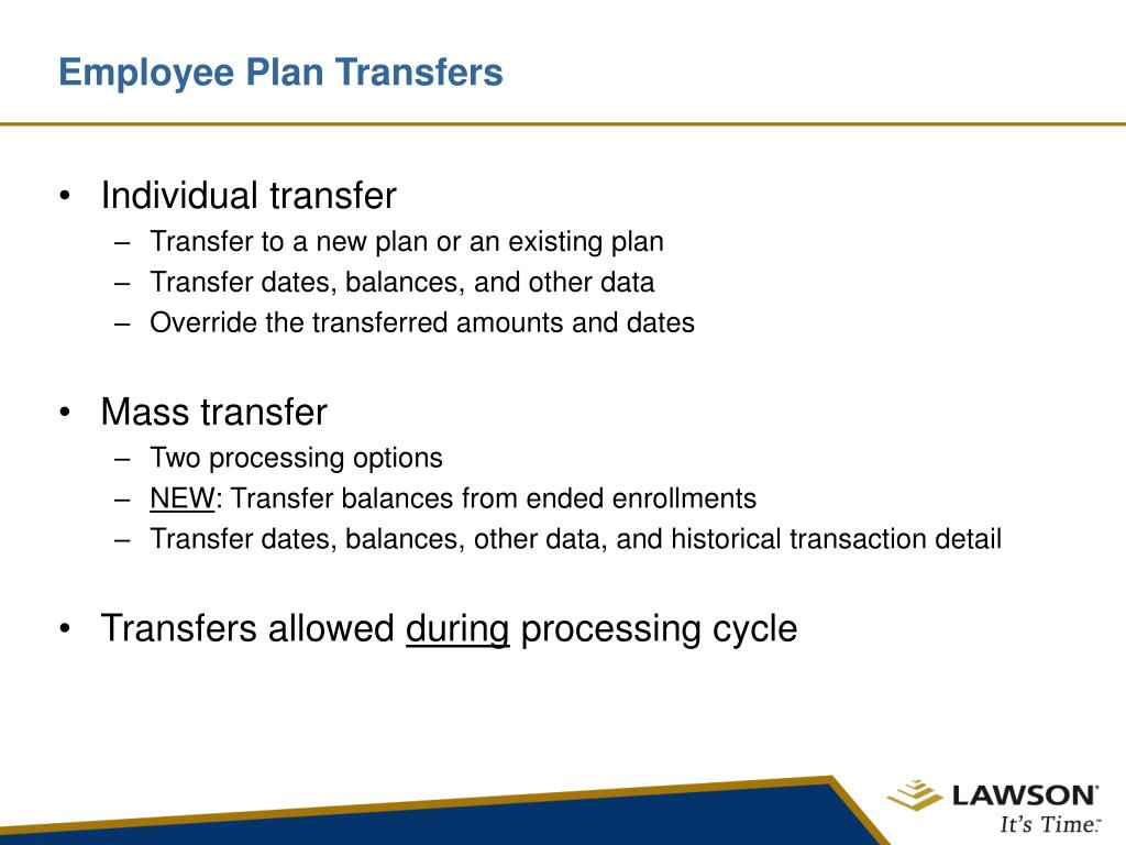 Employee Plan Transfers