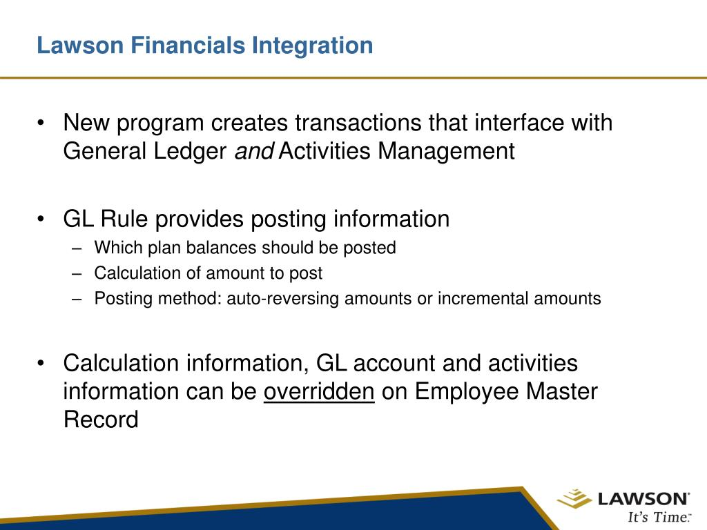 Lawson Financials Integration