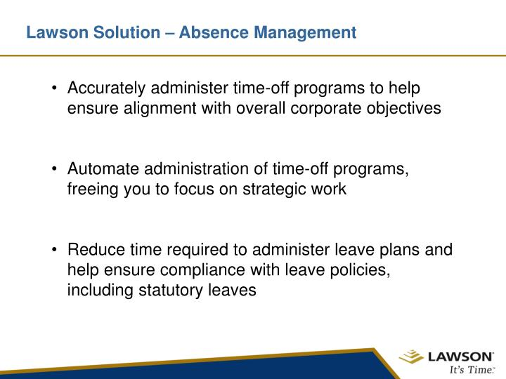 Lawson solution absence management
