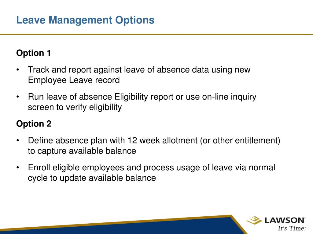 Leave Management Options