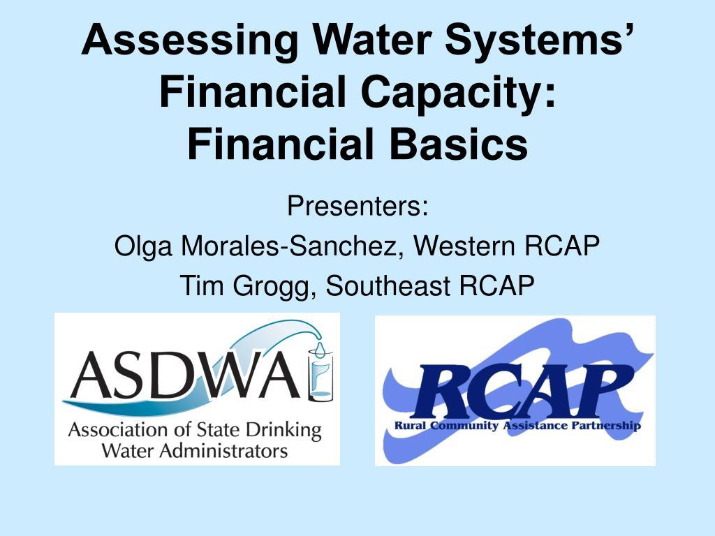 Assessing Water Systems' Financial Capacity:  Financial Basics