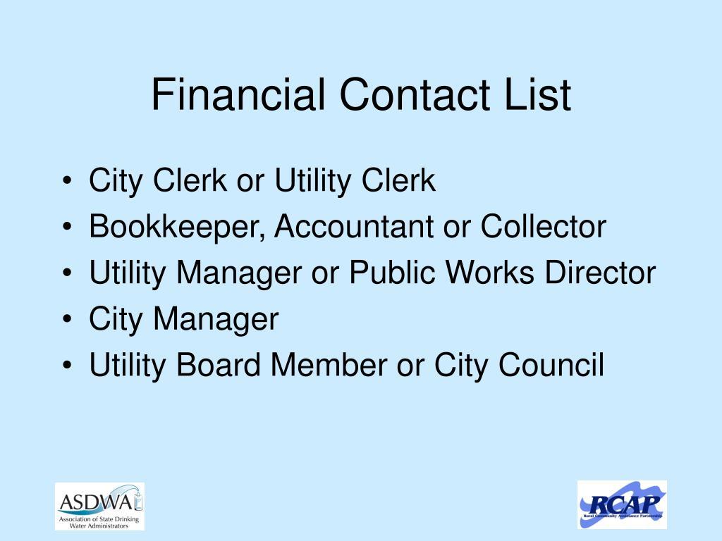Financial Contact List