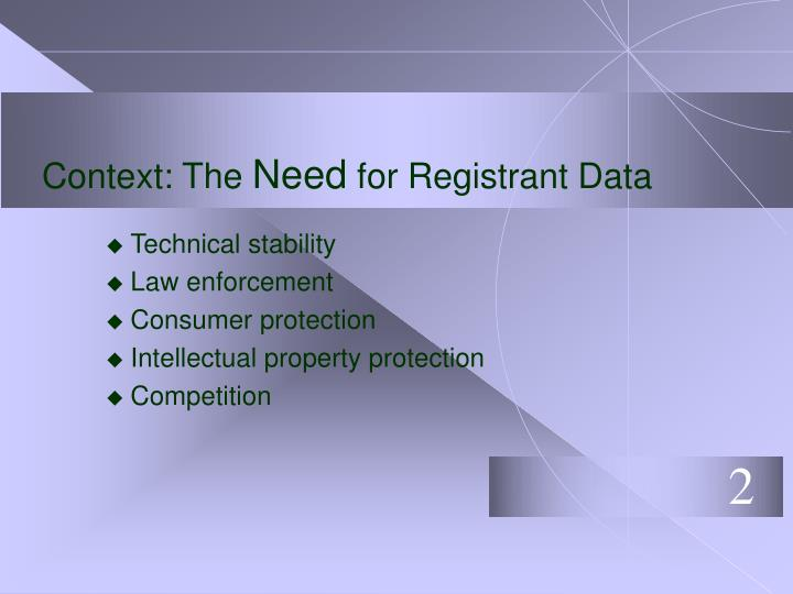 Context the need for registrant data