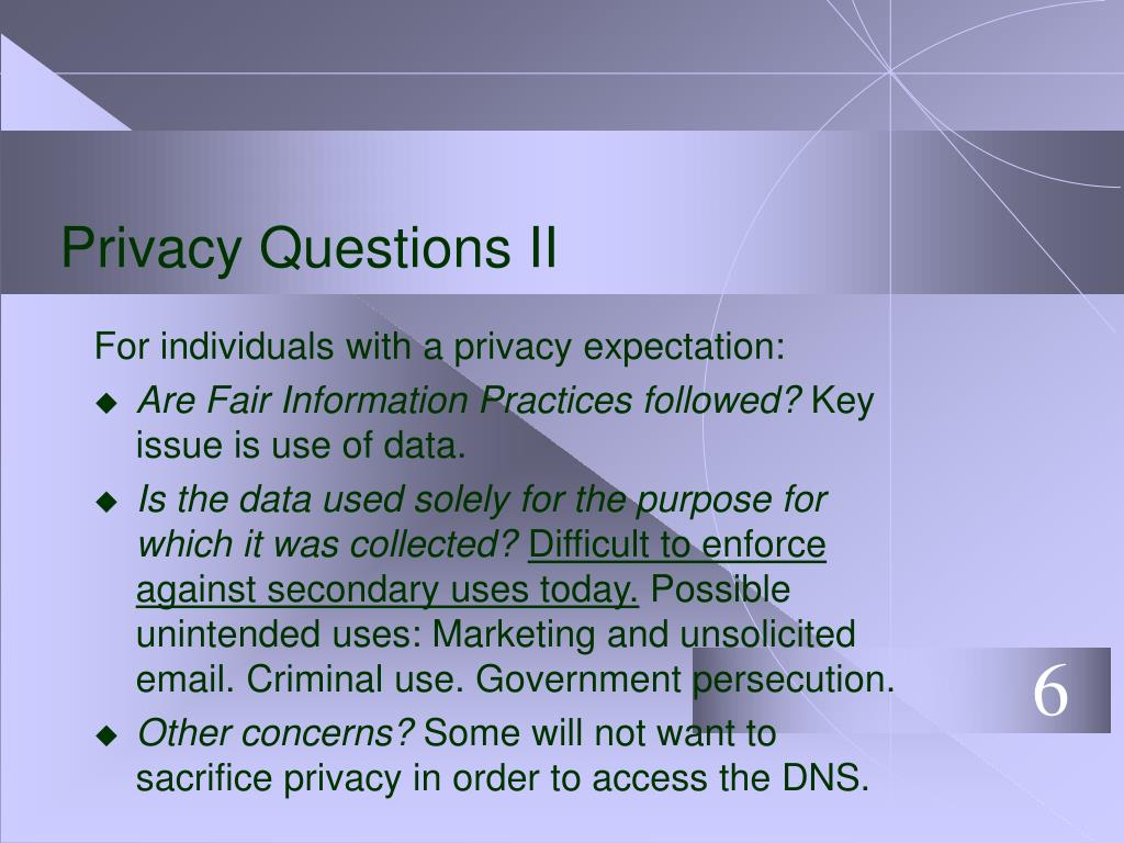 Privacy Questions II