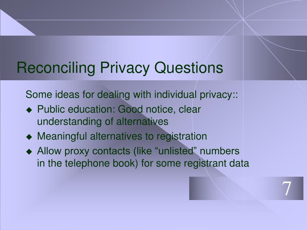 Reconciling Privacy Questions
