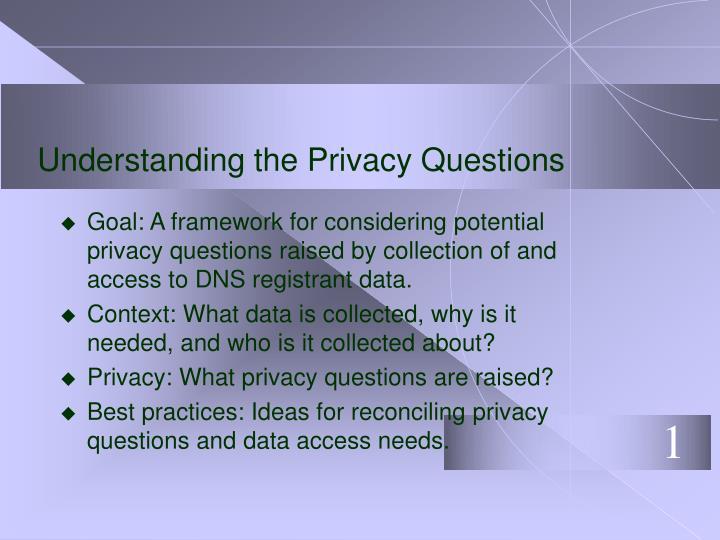 Understanding the Privacy Questions