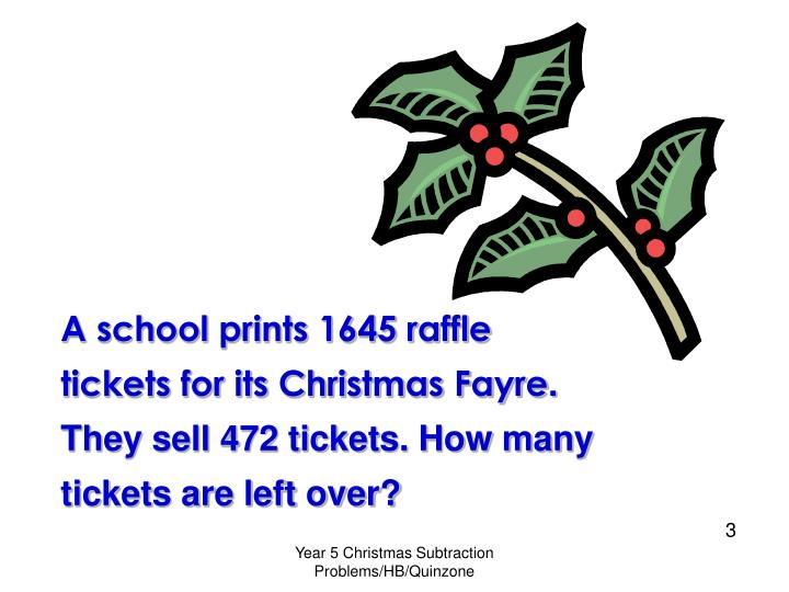 A school prints 1645 raffle tickets for its Christmas Fayre