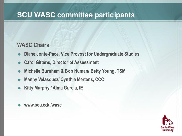 SCU WASC committee participants