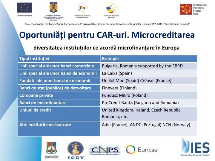 Oportuniăți pentru CAR-uri. Microcreditarea