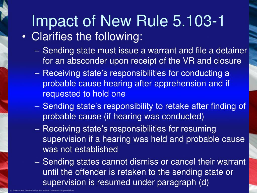Impact of New Rule 5.103-1