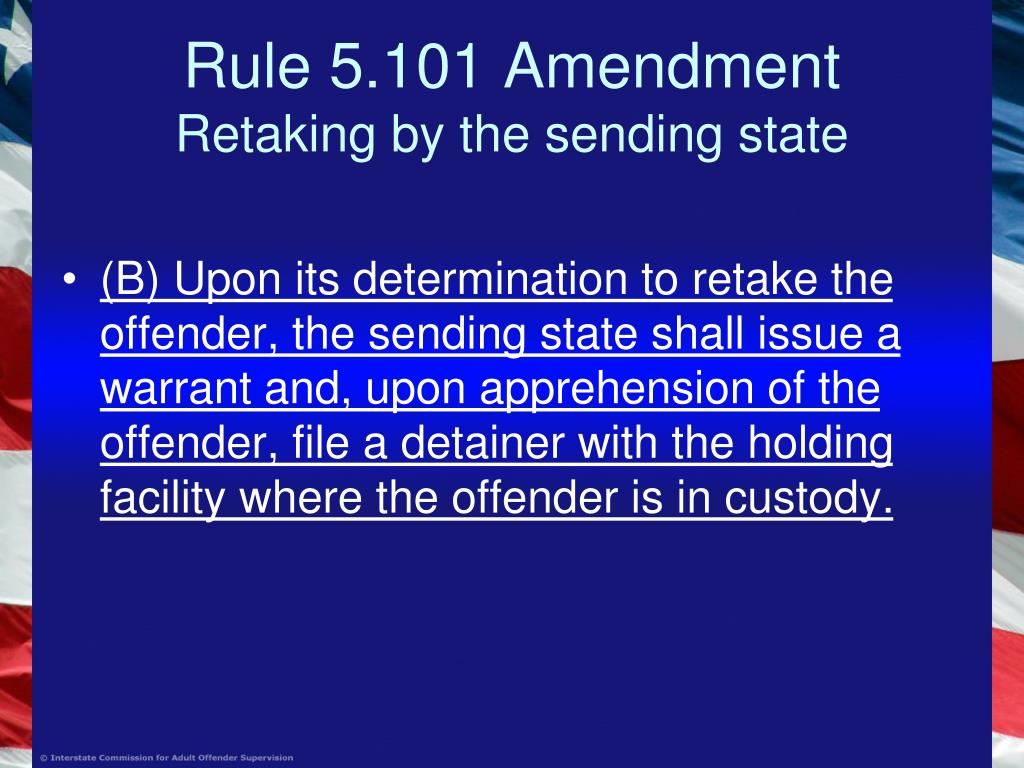 Rule 5.101 Amendment