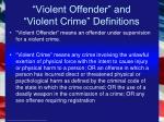 violent offender and violent crime definitions