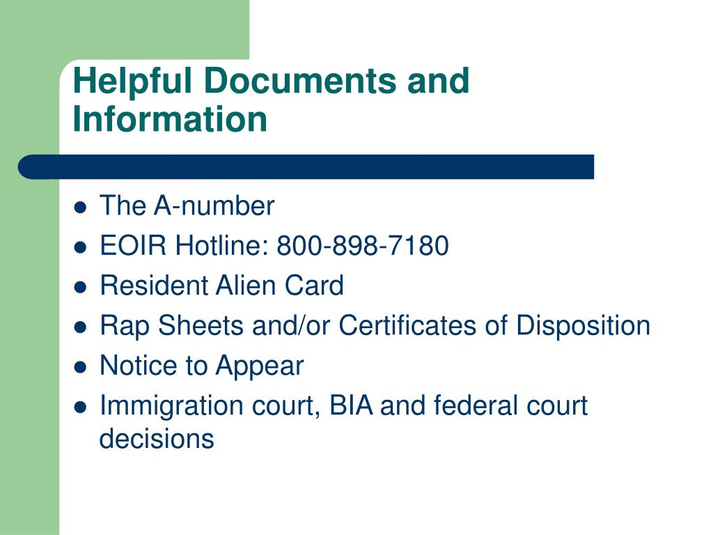 Helpful Documents and Information