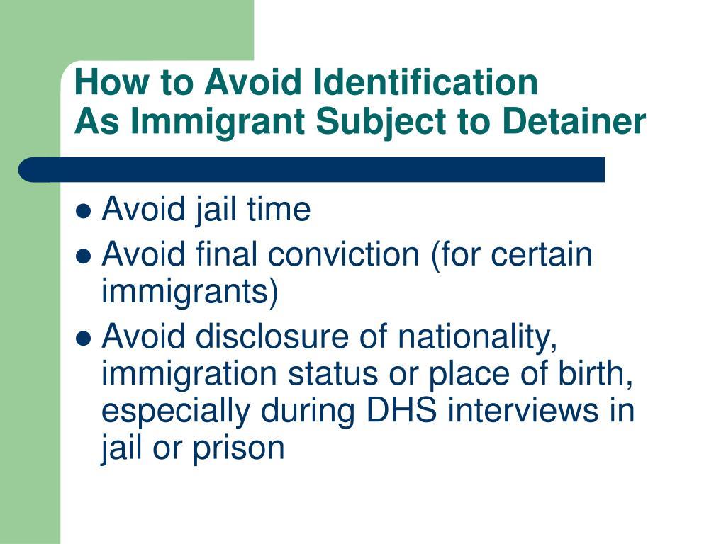 How to Avoid Identification