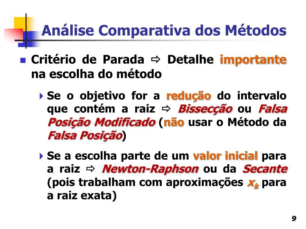 Análise Comparativa dos Métodos