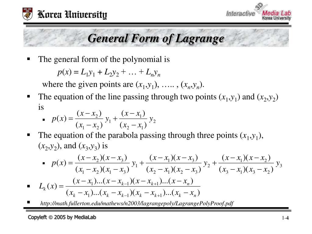 General Form of Lagrange